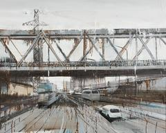 """""""Long Bien Bridge 6"""" Le Quy Tong Oil on Canvas Cityscape Grey Beige Brown Blue"""
