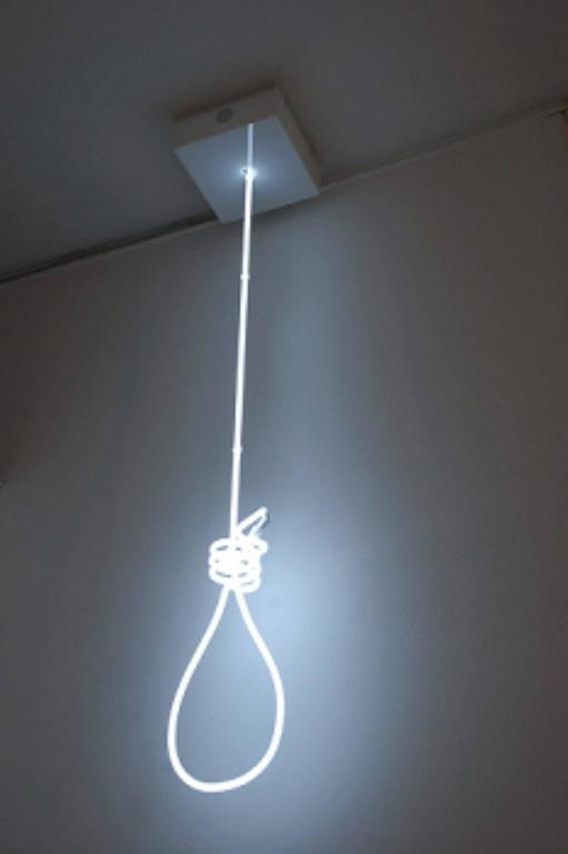 Illumino L'Immensio Noose by Mattia Novello Neon Blown Glass Noose Sculpture