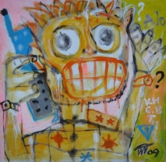 Hello by Nguyen Cong Cu Oil &Acrylic on Canvas Portrait Painting Yellow Red Blue