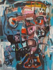 Face 2 by Nguyen Cong Cu Acrylic on Canvas Portrait Painting Blue Red Black Pink