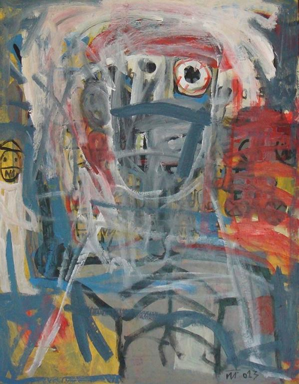 No Chance by Nguyen Cong Cu Acrylic on Canvas Portrait Painting Grey Red Yellow