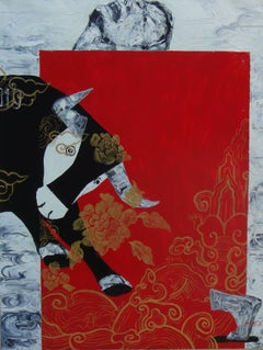 """""""My Pet Bull"""" Oil on Canvas of Black Bull with Red Black Gold Blue Grey"""