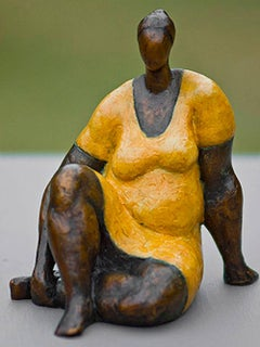 """Damsel (Mini)"" by Nnamdi Okonwko Bronze Sculpture of Woman"