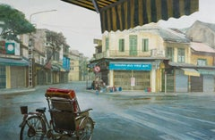"""""""Buoi Som Dung Street"""" by Pham Binh Chuong Lacquer on Wood Painting Blue Yellow"""