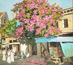 """Hang Be Street"" by Pham Luan Oil on Canvas Painting Street Scene Pink Yellow"