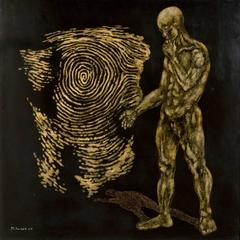 """My Self"" by Pham Minh Tuan Lacquer on Wood Figurative Black Gold"