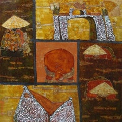 """""""Highland Town"""" by Tran Dinh Khuong Lacquer on Wood Red Gold Brown White"""
