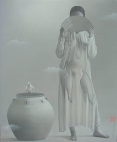 'Remembrances', Grey, Monochrome Painting, Nude Woman