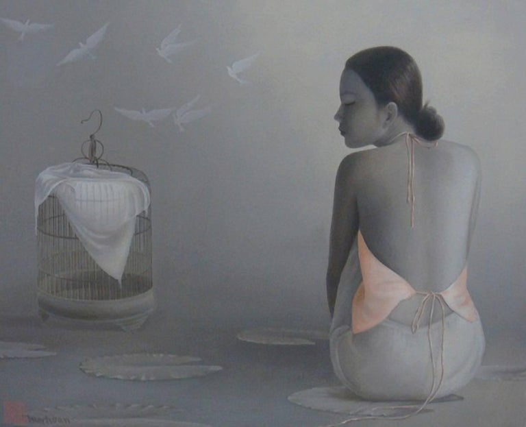 'Flying Doves' is a large contemporary oil on canvas painting created by Vietnamese artist Tran Huy Hoan in 2012. Featuring a grisaille-reminiscent palette made of grey, back and white tones accented with an eye-catching salmon color, the painting