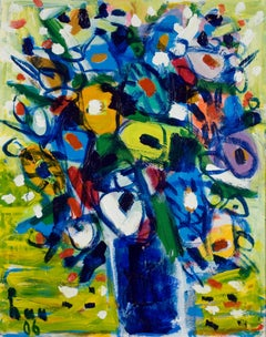 Still Life with Flowers, Tran Luu Hau Large Vertical Oil on Canvas Painting