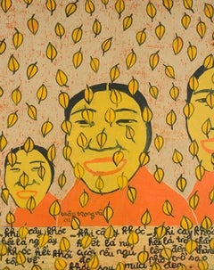 """October"" by Tran Trong Vu Acrylic on Plastic Painting Portrait Yellow Orange"