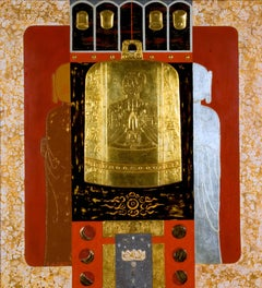 """Worship"" by Trinh Quoc Chien Lacquer on Wood Red Black Gold Silver"
