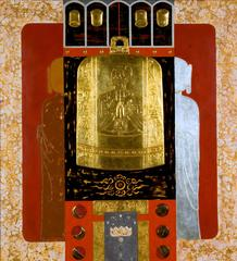 """""""Worship"""" by Trinh Quoc Chien Lacquer on Wood Red Black Gold Silver"""