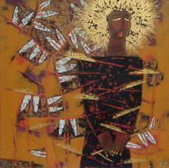 """""""Golden Thoughts"""" by Trinh Tuan Lacquer on Wood Figurative Gold Orange Black"""