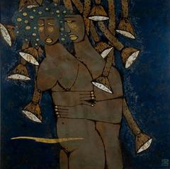 """""""Intimate Love"""" by Trinh Tuan Lacquer on Wood Figurative Blue Grey Gold Brown"""