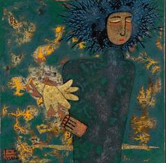 """""""Dove"""" by Trinh Tuan Lacquer on Wood Figurative Blue Green Gold Black"""