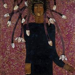 """""""Waiting"""" by Trinh Tuan Lacquer on Wood Figurative  Magenta Purple Blue Black"""