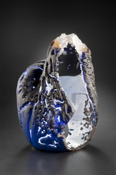 """Element 15"" by Vaclav Rezac Blown Glass Blue Beige Brown"