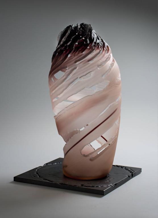 """Element 9"" by Vaclav Rezac Blown Glass Sculpture Brown Rose Purple"