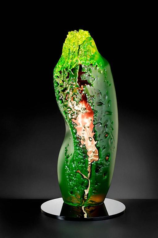 """Element 1"" by Vaclav Rezac Blown Glass Sculpture Green Orange"