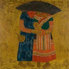 """""""Stay Close"""" by Vu Cuong Lacquer on Wood Figurative Gold Blue Black Red Black"""