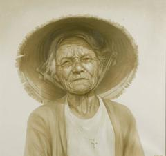 """Old Woman Living Near Sea"" by Vu Nhu Hai Oil on Canvas Portrait White Grey Gree"