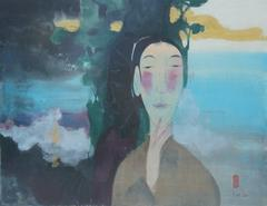 """Spiritual Echo"" by Vu Thu Hien Watercolor on Doe Paper Blue Green Yellow Purple"