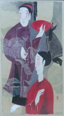 """Language of Love"" by Vu Thu Hien Watercolor on Doe Paper Red Purple Grey"