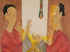 """Celebration of Life"" by Vu Thu Hien Watercolor on Rice Paper Red Gold Green"
