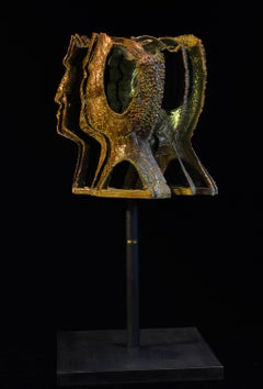 David by Louis Sclafani Blown Glass and Metal Portrait Sculpture
