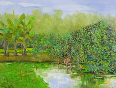 Water Fern Pond by Ngo Duc Lam Landscape Oil on Canvas Painting Green Blue