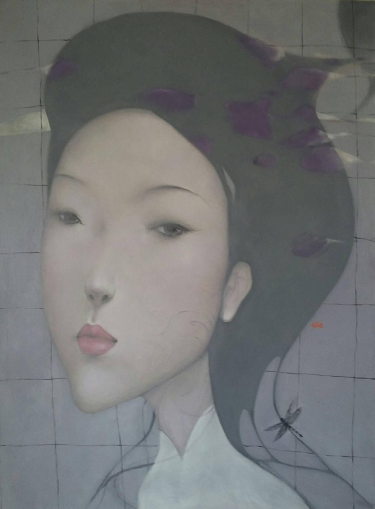 'Elegance' is a large contemporary oil on canvas portrait painting of vertical format created by Vietnamese artist Nguyen Van Cuong in 2018. Featuring a soft palette made of grey, purple, blue and pink tones, the painting showcases the portrait of