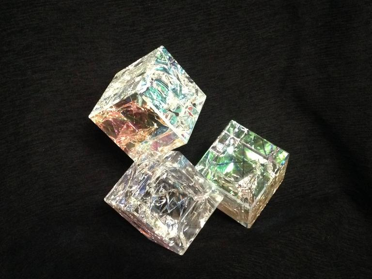 """3 Count Bassie"" Tom Marosz, Glass, Crystal, Polished, Optic, Dichroic Sculpture"