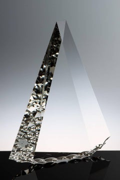 """Crytal Flint"" Tomas Brzon, Cast, Cut, Polished, Optic Glass Sculpture"