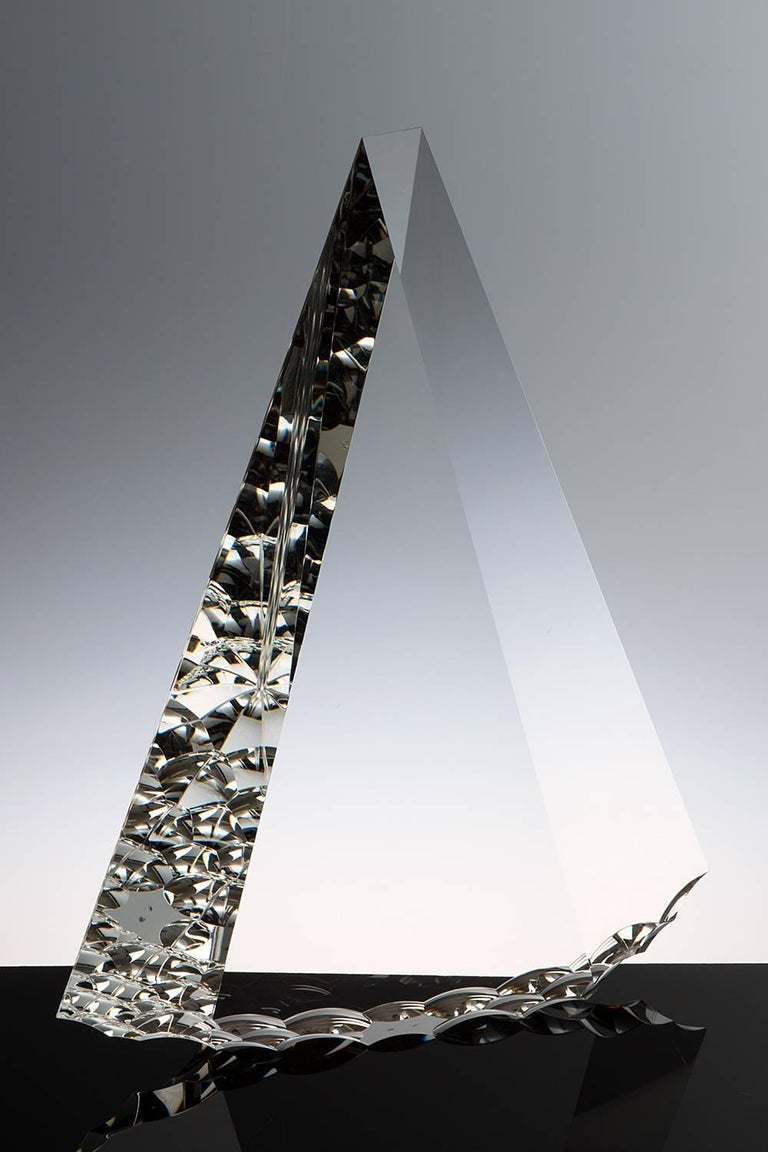 """""""Crytal Flint"""" Tomas Brzon, Cast, Cut, Polished, Optic Glass Sculpture - Gray Abstract Sculpture by Tomas Brzon"""