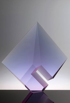 Purple Composition - Large, Tomas Brzon Abstract Polished Optic Glass Sculpture
