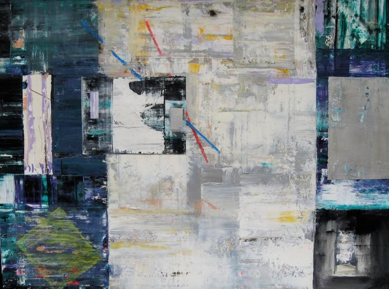 """End Game"" Doug Frohman Oil Painting on Paper Abstract White Purple Blue Green"