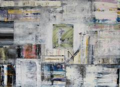 """Dream Map"" Doug Frohman Oil on Paper Abstract Greys White Blues Greens Black"