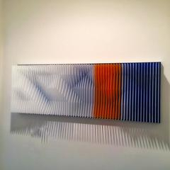 """Alpine Landscape"" J Margulis Kinetic Art Lucite Brushed Aluminum Red Blue White"
