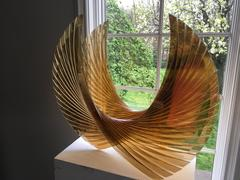 """Gold Amber Wings"" Tom Marosz Glass Sculpture Gold"