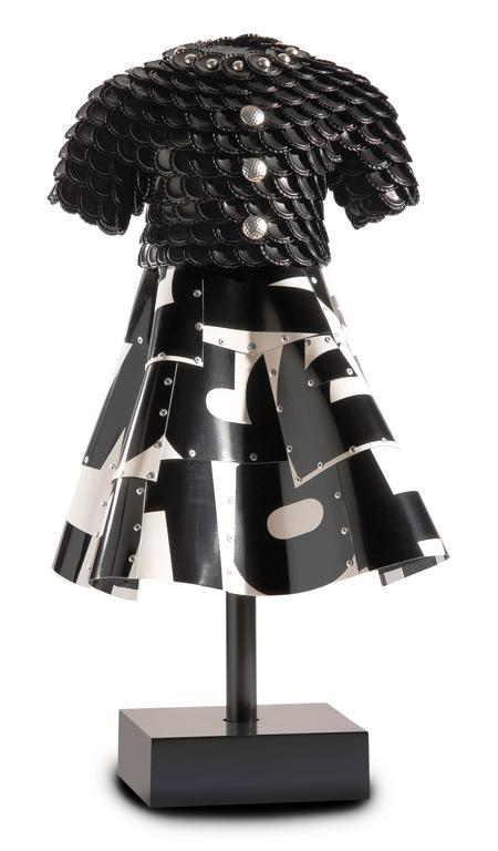 """""""Karina"""" John Petrey, License Plates, Bottle Cap Black, White Metal Sculpture"""