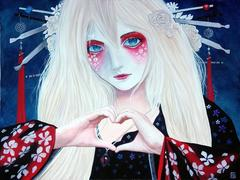 """Heart Geisha"" Carlos Aleman Red Black Blue White Shironuri Acrylic on Canvas"