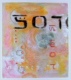 """Emergence"" Doug Frohman Mixed Media on Paper Text Yellow Orange Pink Red Blue"