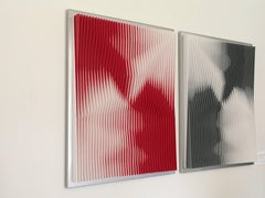 """Dynamic Undulation Diptych"" J Margulis Kinetic Art PVC Plexiglass Red Black"