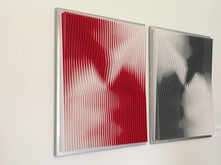 """Dynamic Undulation Diptych"" J Margulis Kinetic Art PVC Plexiglass Red Black"