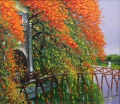 Crossing the Huc Bridge by Le Thanh Son, Large Impressionist Landscape Painting