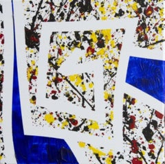 """""""Saint-Remy"""" Max Lebven Abstract Aryclic Painting Blue Yellow White Red Black"""