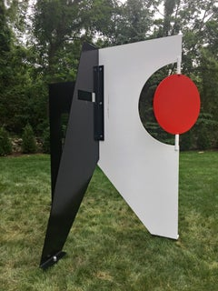 """Red Eye"" Moises Morgenstern Kinetic Sculpture Red, Black White Abstract Modern"