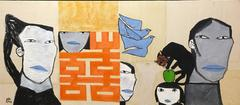 """Family Love"" Dang Xuan Ho Blue Orange Black Grey Beige Oil on Canvas Painting"