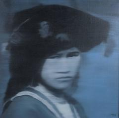 """Tribal Indochine Woman 4"" Nguyen Quag Huy Oil on Canvas Painting Blue Black"